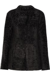 Issa Juno Leather Trimmed Flocked Stretch Knit Sweater Black