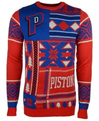 Forever Collectibles Men's Detroit Pistons Patches Christmas Sweater Red Blue