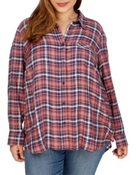 Lucky Brand Plus Plaid Button Down Blouse Pink