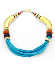 Lizzie Fortunato Turquoise And Amazonite Collar Necklace Gold Multi
