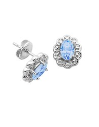 Lord And Taylor December Birthstone Sterling Silver Earrings Blue