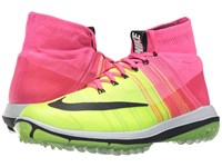 Nike Flyknit Elite Pink Blast Volt White Black Men's Golf Shoes Yellow