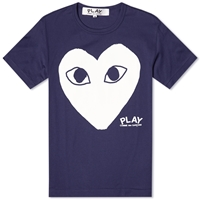 Comme Des Garcons Play Heart Logo Tee Navy And White