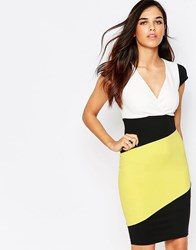 Jessica Wright Briony Colourblock Pencil Dress Yellow White Black Multi