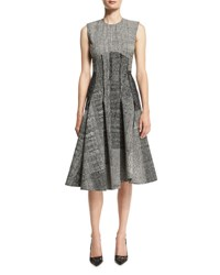 Jason Wu Sleeveless Houndstooth Jacquard Dress Black Chalk