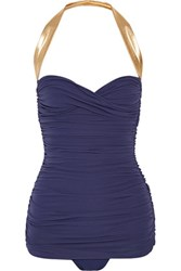 Norma Kamali Walter Mio Ruched Halterneck Swimsuit Storm Blue