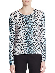 Christian Dior Cheetah Print Cashmere Sweater Blue Multi