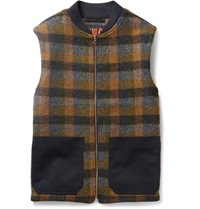 The Workers Club Checked Wool Gilet Orange