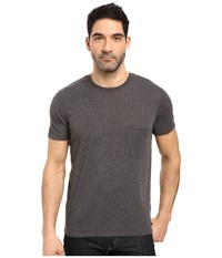 7 For All Mankind Short Sleeve Raw Pocket Crew Heather Charcoal Men's Clothing Gray