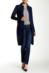 Zac Posen Beverly Suede Trench Coat Blue