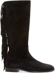Burberry Black Suede Fringed Boots