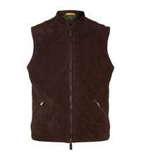 Canali Quilted Suede Gilet Male Dark Brown