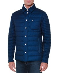Stefano Ricci Quilted Button Down Field Jacket Blue Men's