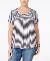 Styleandco. Style And Co. Plus Size Striped Pleat Neck Top Only At Macy's Striped Indigo