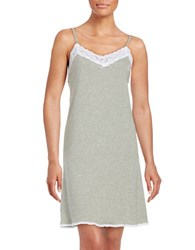 Lauren Ralph Lauren Lace Trimmed Cotton Chemise Grey