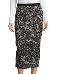 Tracy Reese Animal Print Pencil Skirt Charcoal