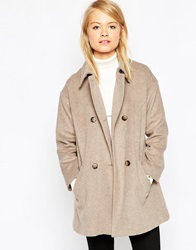 Asos Jacket In Swing Shape With Double Breasted Detail Camel