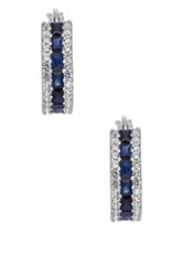 Sterling Silver Created Sapphire And White Sapphire Hoop Earrings Blue