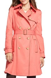 Women's Lauren Ralph Lauren Faux Leather Trim Trench Coat Coral