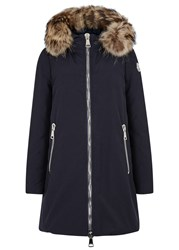 Moncler Dimitra Fur Trimmed Twill Jacket Navy