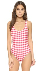 Solid And Striped Anne Marie Swimsuit Raspberry Cream Gingham