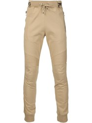 Balmain Biker Track Trousers Nude And Neutrals