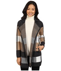 Pendleton Petite Plaid Cardigan Charcoal Heather Camel Ivory Women's Sweater Multi