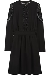 Alice By Temperley Dawn Embroidered Tulle Paneled Crepe Dress Black