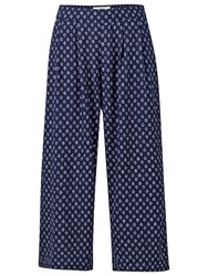 Fat Face Wide Crop Batik Geo Trousers Navy