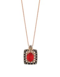 Le Vian Neon Tangerine Fire Opal Chocolate And Vanilla Diamond 14K Red Gold Necklace