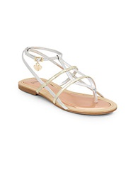 Stuart Weitzman Girl's Camia Metallic Faux Leather Thong Sandals Gold Silver