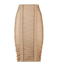 Balmain Ruched Lace Up Pencil Skirt Female Beige