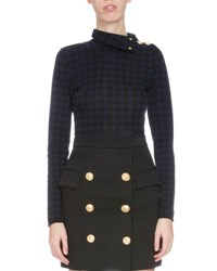 Balmain Checkered Button Shoulder Turtleneck Sweater Black
