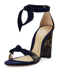 Alexandre Birman Python And Suede Ankle Tie Sandal Shadow Petrol Pet