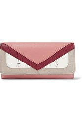 Fendi Bag Bugs Embellished Textured Leather Continental Wallet Antique Rose