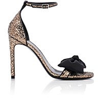 Saint Laurent Women's Bow Embellished Jane Sandals Black Gold Black Gold