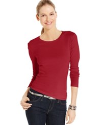 Charter Club Solid Long Sleeve Pima Cotton Top New Red Amore