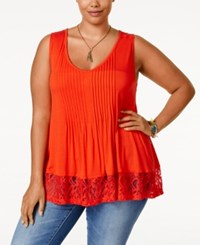 American Rag Plus Size Lace Back Tank Top Only At Macy's Fire Red Combo