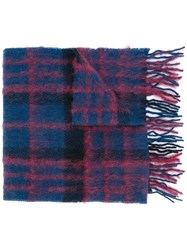 Paul Smith Checked Scarf Blue