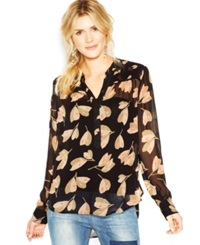 Lucky Brand Long Sleeve Semi Sheer Floral Print Shirt