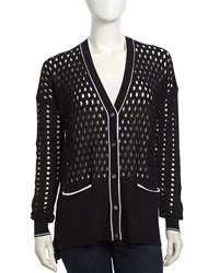 L.A.M.B. Cutout Pattern V Neck Cardigan Black