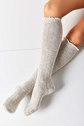 Urban Outfitters Crochet Cuff Knee High Sock Grey