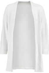 Oscar De La Renta Sequined Silk Blend Cardigan White