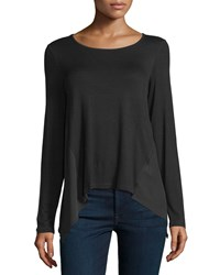 P. Luca Long Sleeve Sheer Back Combo Tunic Black