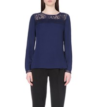 Reiss Tilly Lace Detail Top Indigo