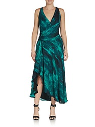 Haute Hippie Tie Dye Racerback Maxi Dress Green Multi