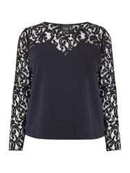Persona Lace Detail Top With 3 4 Sleeve Navy