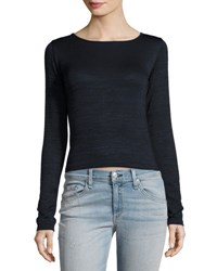 Rag And Bone Twist Long Sleeve Crop Tee Navy Black