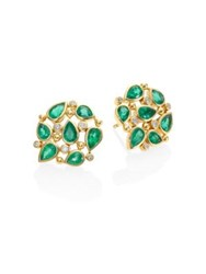 Temple St. Clair Pear Cluster Diamond Emerald And 18K Yellow Gold Stud Earrings Gold Emerald
