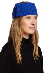 Portolano Bow Detail Allover Rib Headband Blue